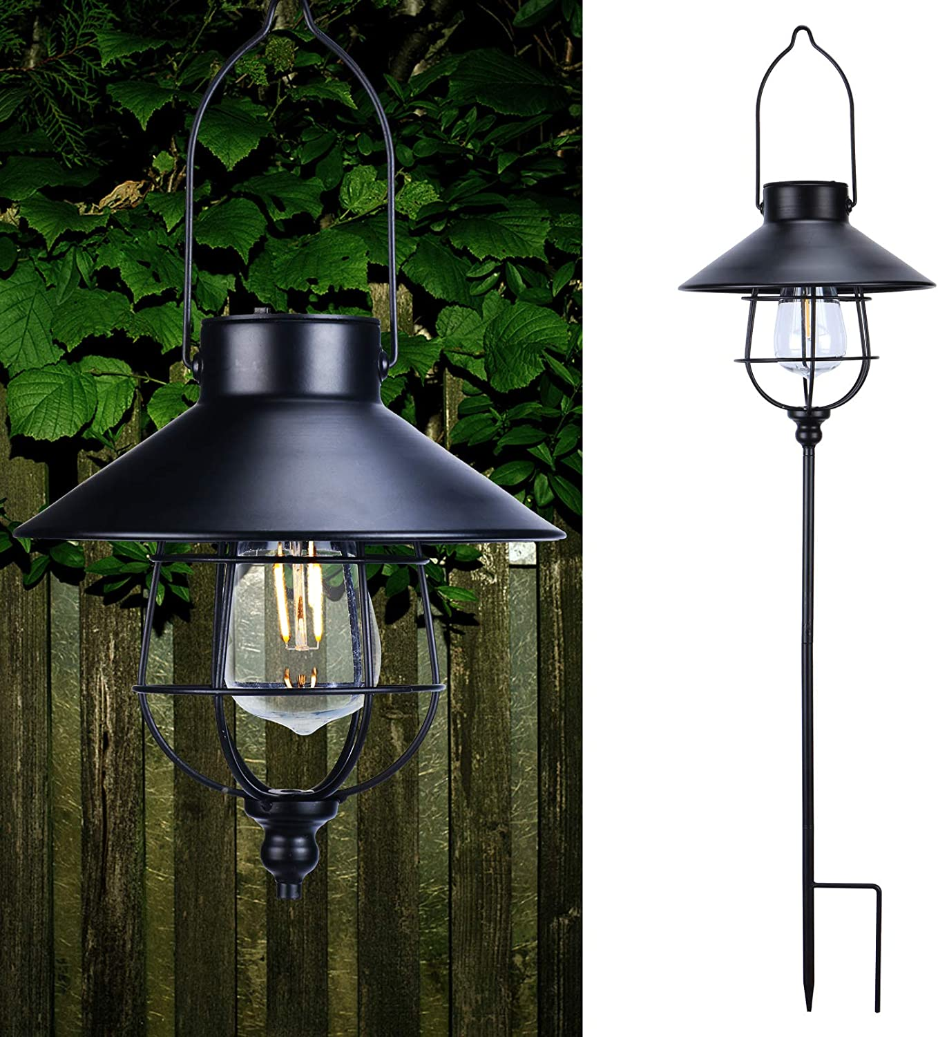 Afirst Hanging Solar Pathway Lights Outdoor LED Waterproof Solar Lantern Light Garden Patio Lawn Yard Walkway Landscape Decoration Black 1 Pack