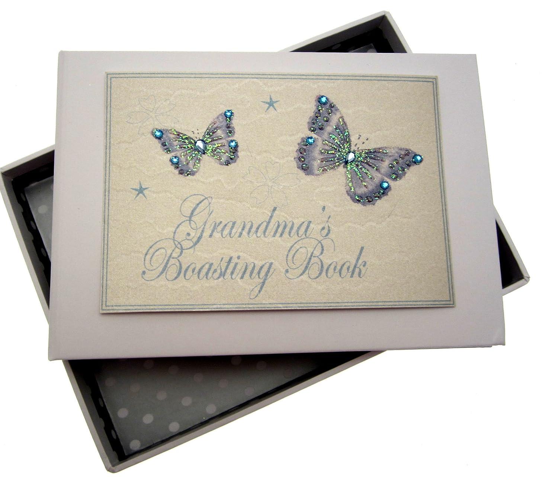 White Cotton Cards Grandma's Boasting Book Tiny Photo Album (Blue Butterflies) W30BT
