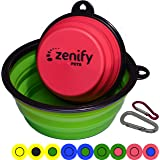 Zenify Dog Bowl Food & Water Feeder 2 Pack - Extra Large 1000ml 17.8cm & Small 400ml 12.7cm Collapsible Portable Foldable Travel Dish Leash Lead Slim Accessories for Puppy Dogs (Green XL/Pink S)