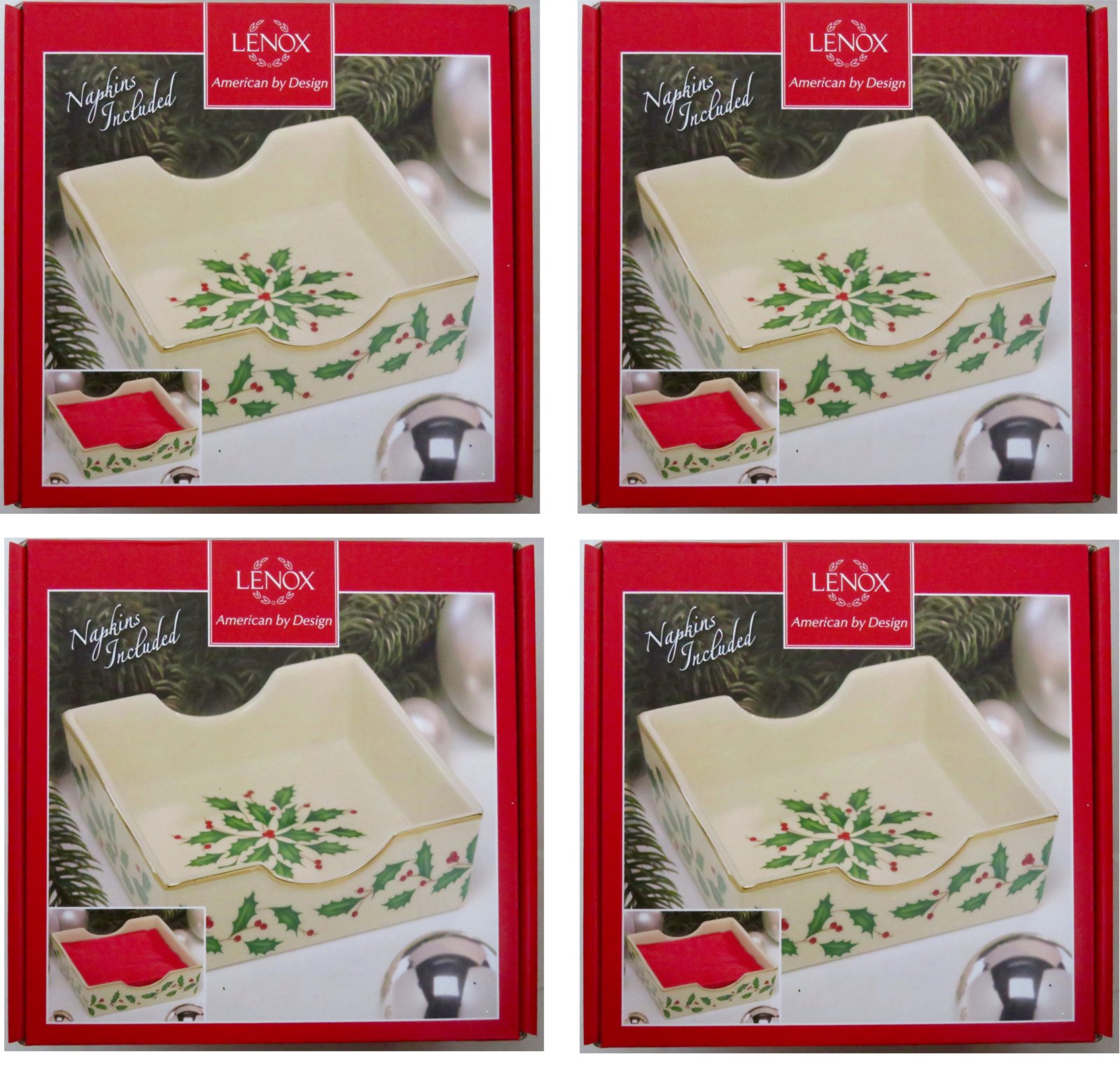 Holiday Napkin Holder with Red Napkins [Set of 4] by Lenox