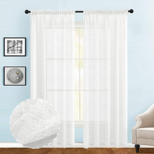 Guken Sheer Curtains 108 Inches Long,Natural Linen Textured Curtains Extra Long Semi Sheer Drapes for Sliding Door Bedroom Living Room Window Treatments,Off White,54 X108 ,2 Panels