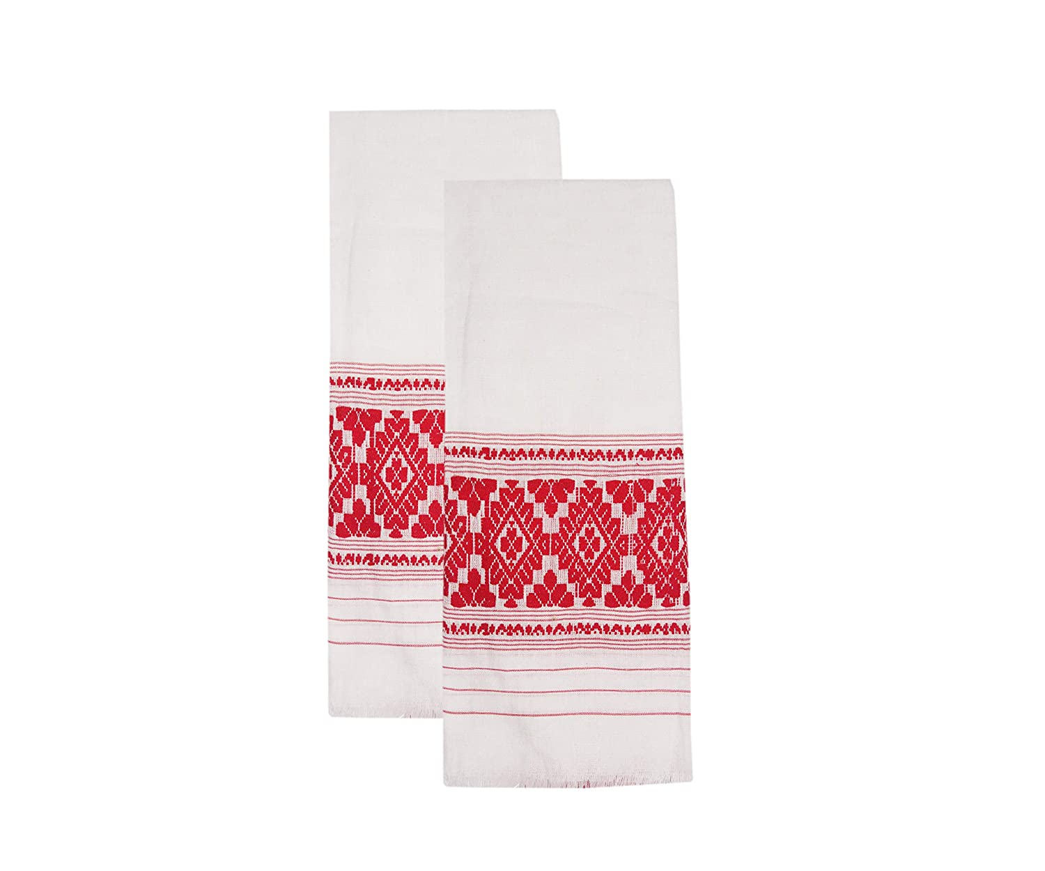 EPIC STORE RETAILER Assamese Traditional Cotton Gamosa, 50x22-inch (White) - Pack of 2