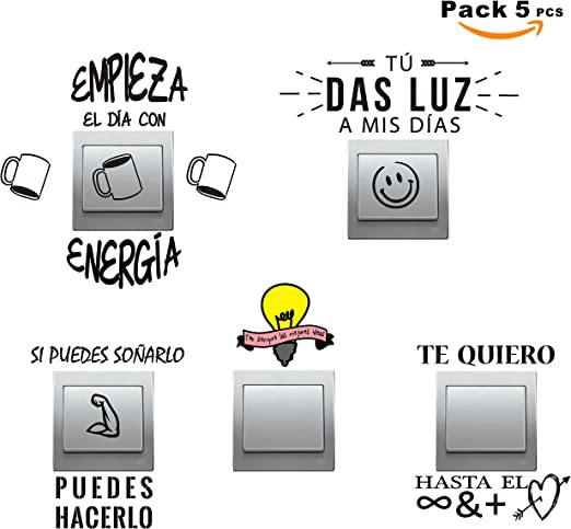 SUPER STICKER - Pack 5 pcs Vinilo decorativo pegatina - para pared, bater, interruptor, puerta. Etc.-frases molonas,ref:pck9a: Amazon.es: Hogar