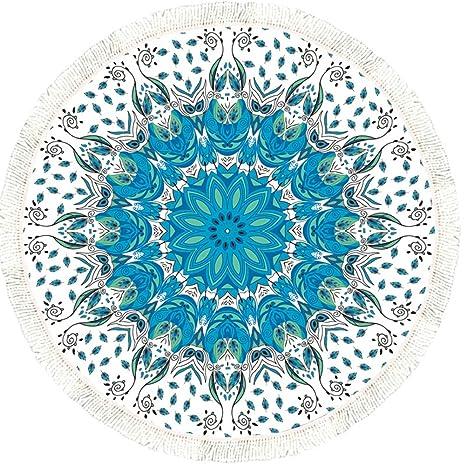 Round Mandala Borla Toalla de Playa Yoga Alfombra Mantel Pared Colgantes, Vandot Toalla de Playa Redonda ...