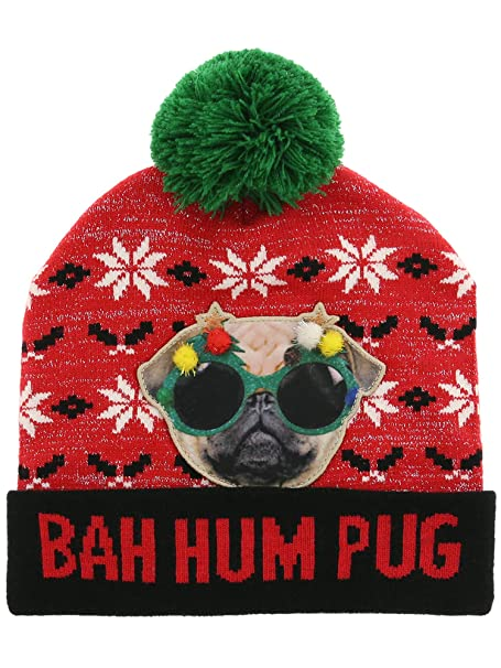 c460687623447 Image Unavailable. Image not available for. Color  Bah Hum Pug Beanie ...
