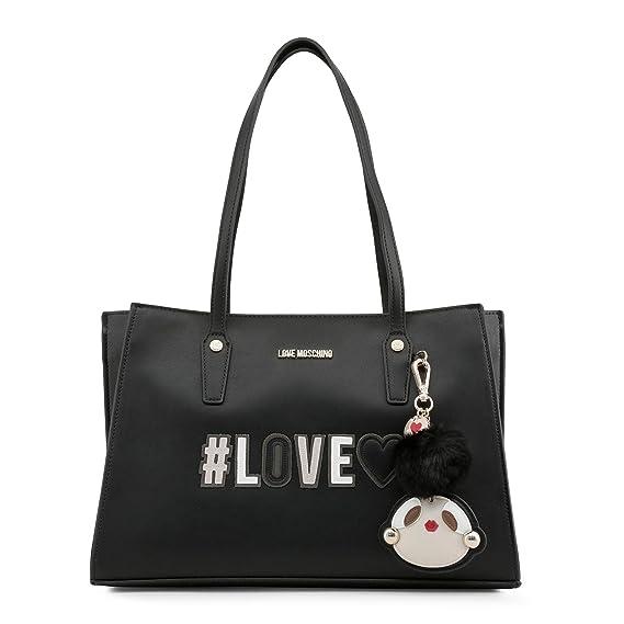 da9a526bba767 Love Moschino Girly Pom Pom Handbag Black  Amazon.co.uk  Shoes   Bags
