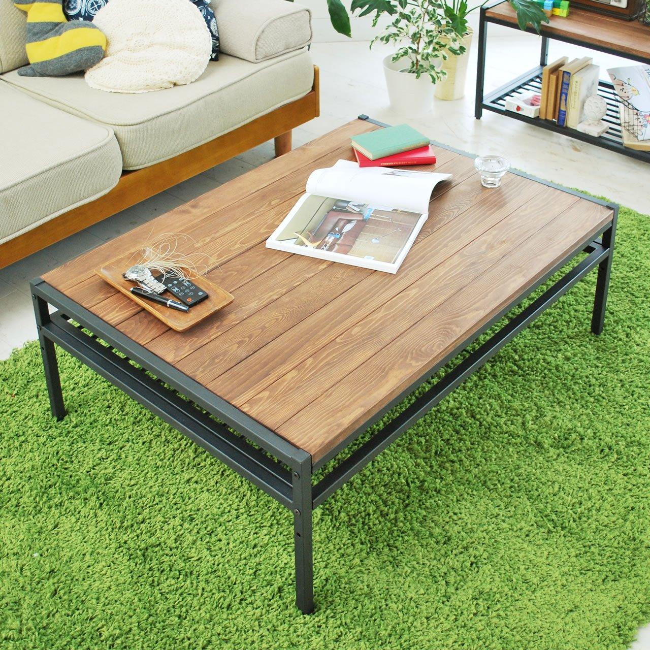 アイアン*ウッド センターテーブル 95cmタイプ 幅95cm×奥行68.5cm×高さ35cm パイン材 オイル仕上げ PT-950BRN B00Y01HU3A  センターテーブル95cm×68.5cm
