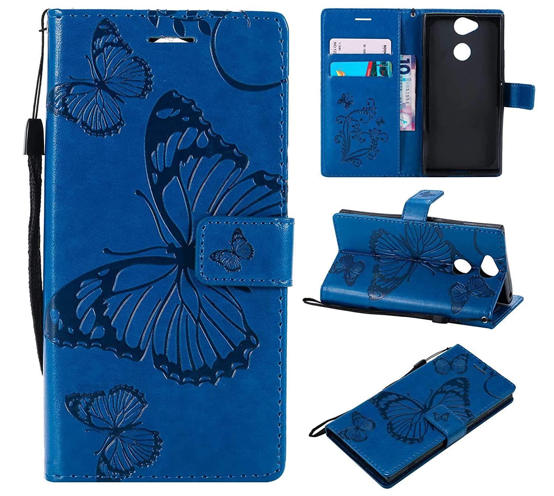 BoxTii Sony Xperia XA2 Lederhülle, Kratzfeste Schutzhülle [mit Frei Panzerglas Displayschutzfolie] Karte Halter Hülle Etui für Sony Xperia XA2 (#4 Blau) BODE13-SNXA2-U04