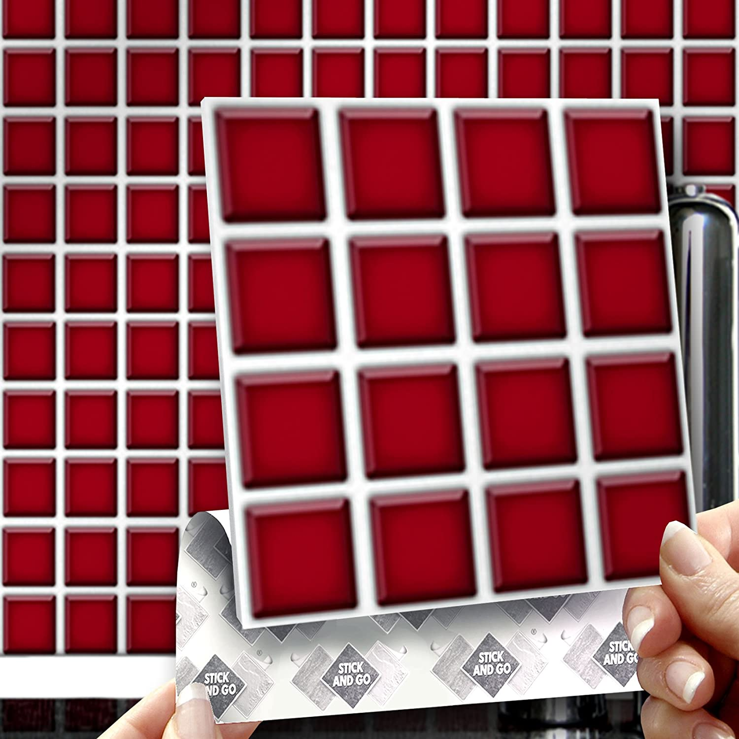 RED MOSAIC EFFECT WALL TILES: Box of 8 tiles Stick and Go Wall ...