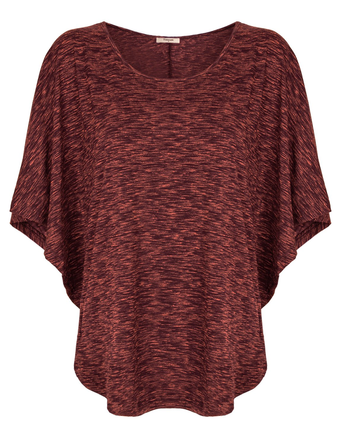 Timeson Batwing Shirt Women Short Sleeve Scoop Neck T-Shirt Blouse Top Small Wine