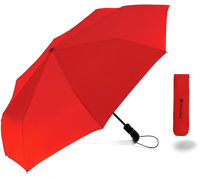 McConnor Automatic Travel Rain Umbrella - Auto Open Close Compact Folding - Windproof Strong and Sturdy Canopy - Heavy Duty Slim Lightweight - Fits in Luggage or Purse, Red