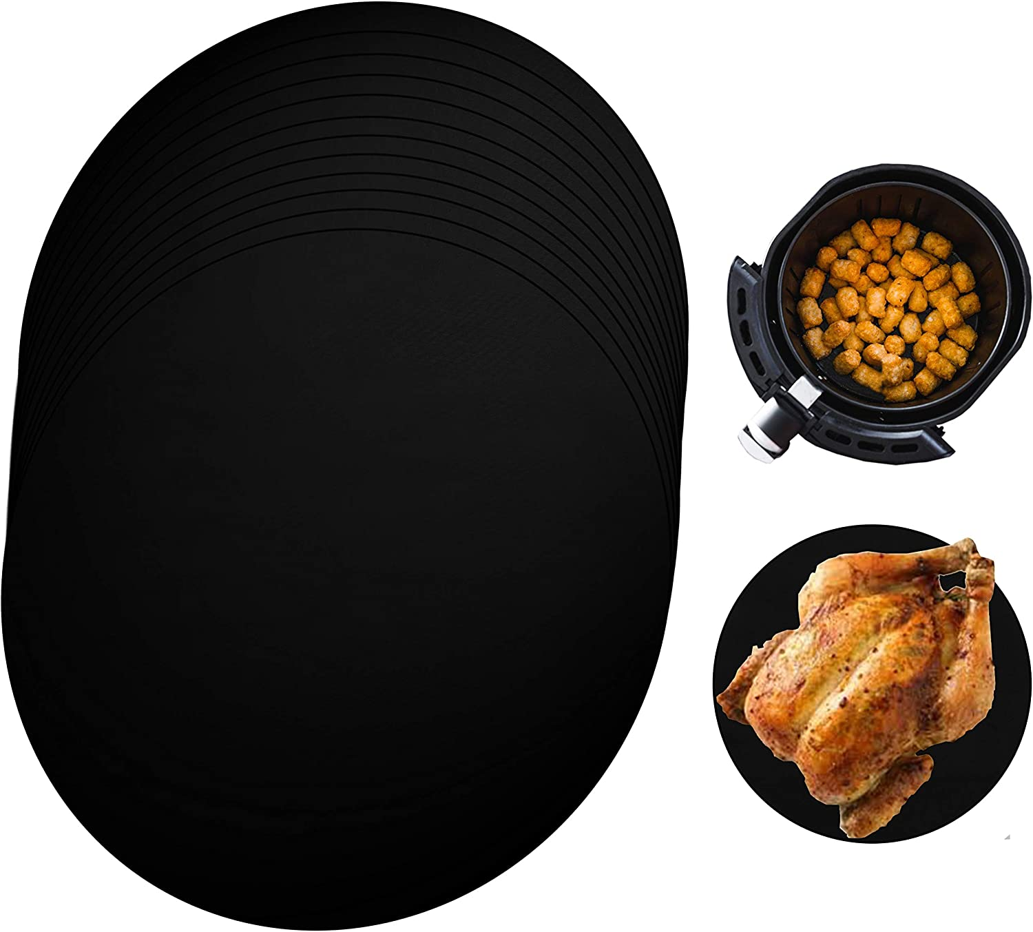 Amestar 12 Pack Reusable Air Fryer Liners Mat 9 Inch,Non-stick Basket Mat, Perfect for 5.3 & 5.8 QT Air Fryers/Steaming/Baking/Cooking/Grilling-Black,Round