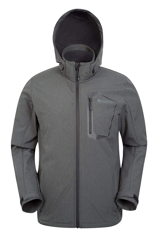 Manteau Toutes Saisons Respirant Style d/écontract/é Mountain Warehouse Veste Softshell texturis/ée Hommes Glover R/ésistante /à leau Capuche et Bordures r/églables