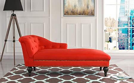 Chaise Lounge Indoor Chair Tufted Velvet Fabric, Modern Long Lounger for Office or Living Room Red