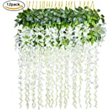 Artificial Fake Wisteria Vine Rattan - 12 Pack Hanging Garland Silk Flowers String Home Party Wedding Decor, 3.6 Feet/Piece (White)