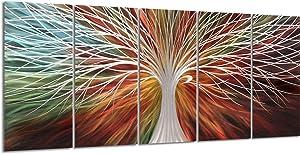 Yihui Arts Tree Metal Wall Art, Metal Art Wall Decor, Polished Decorative Wall Panels in 5-Panels Size 32