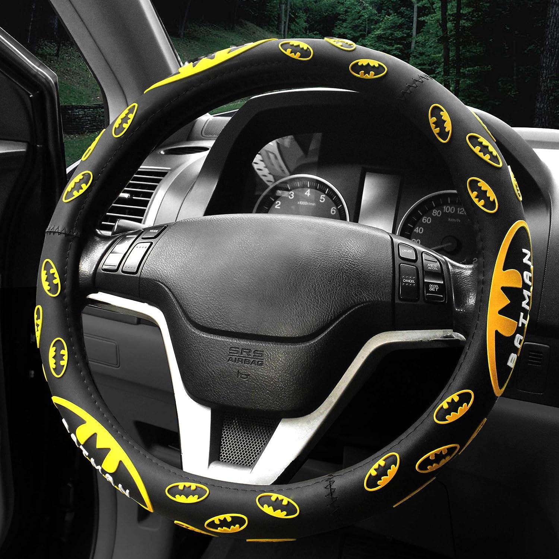 Black FINEX Silicone Batman Superhero Auto Car Steering Wheel Cover Universal Fit
