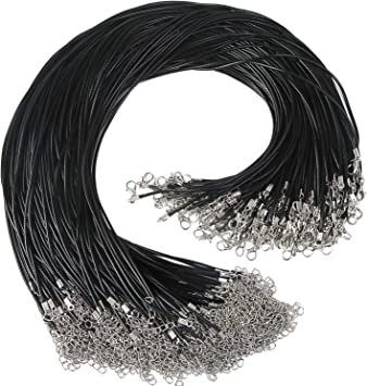 Exacoo 100 Pcs 2.0mm Black Necklace Cord with Lobster Claw Clasp for DIY Jewelry Making 18 inches
