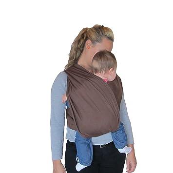 Porte bébé écharpe de portage sans noeud marron réglable  Amazon.fr ... 76649712059