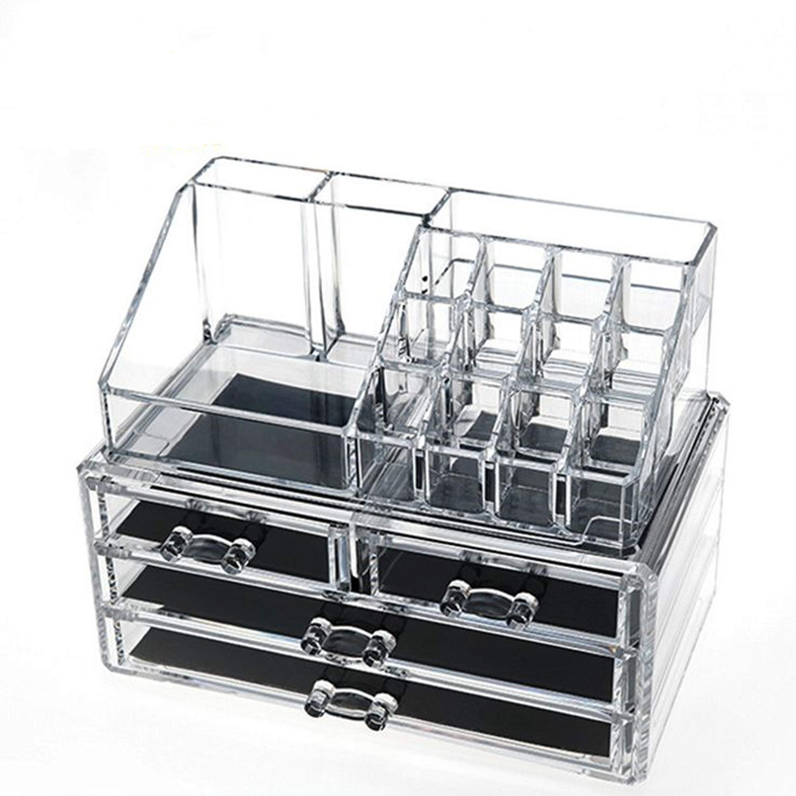 Clear Acrylic Cosmetic Organizer Makeup Holder Display Jewelry Storage Case 4 Drawer For Lipstick Liner Brush Holder