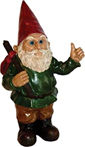 Garrold Gnome Hitchhiker by Michael Carr Designs - Outdoor Gnome Figurine for gardens, patios and lawns (80042)