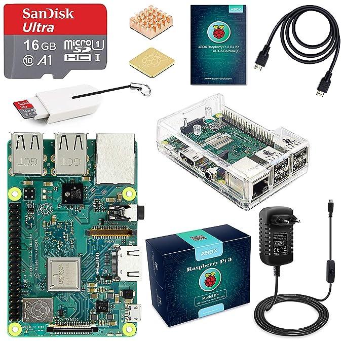 100 opinioni per ABOX Raspberry Pi 3 B+ Starter Kit Scheda Madre con MicroSD Card 16GB SanDisk