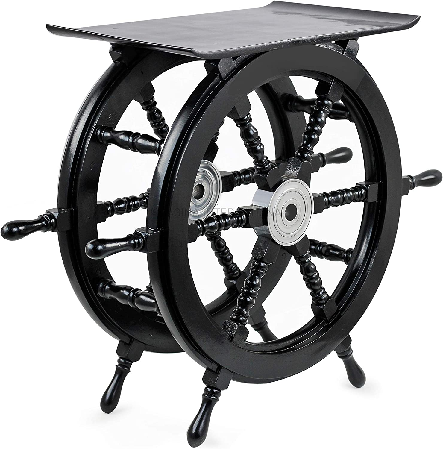 Nagina International Pirate's Black Nautical Handcrafted Wooden Stool | Home Decor Ship Wheel Table Furniture (Medium)
