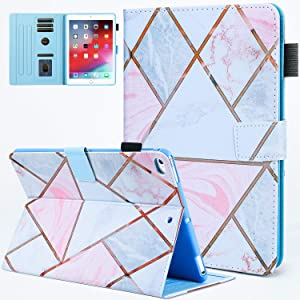 JZCreater Case for iPad 9.7 2018 2017 / iPad Air 2 / iPad Air Case - Flip Stand PU Leather Wallet Case, Auto Sleep/Wake Function Smart Cover, Marble Plaids