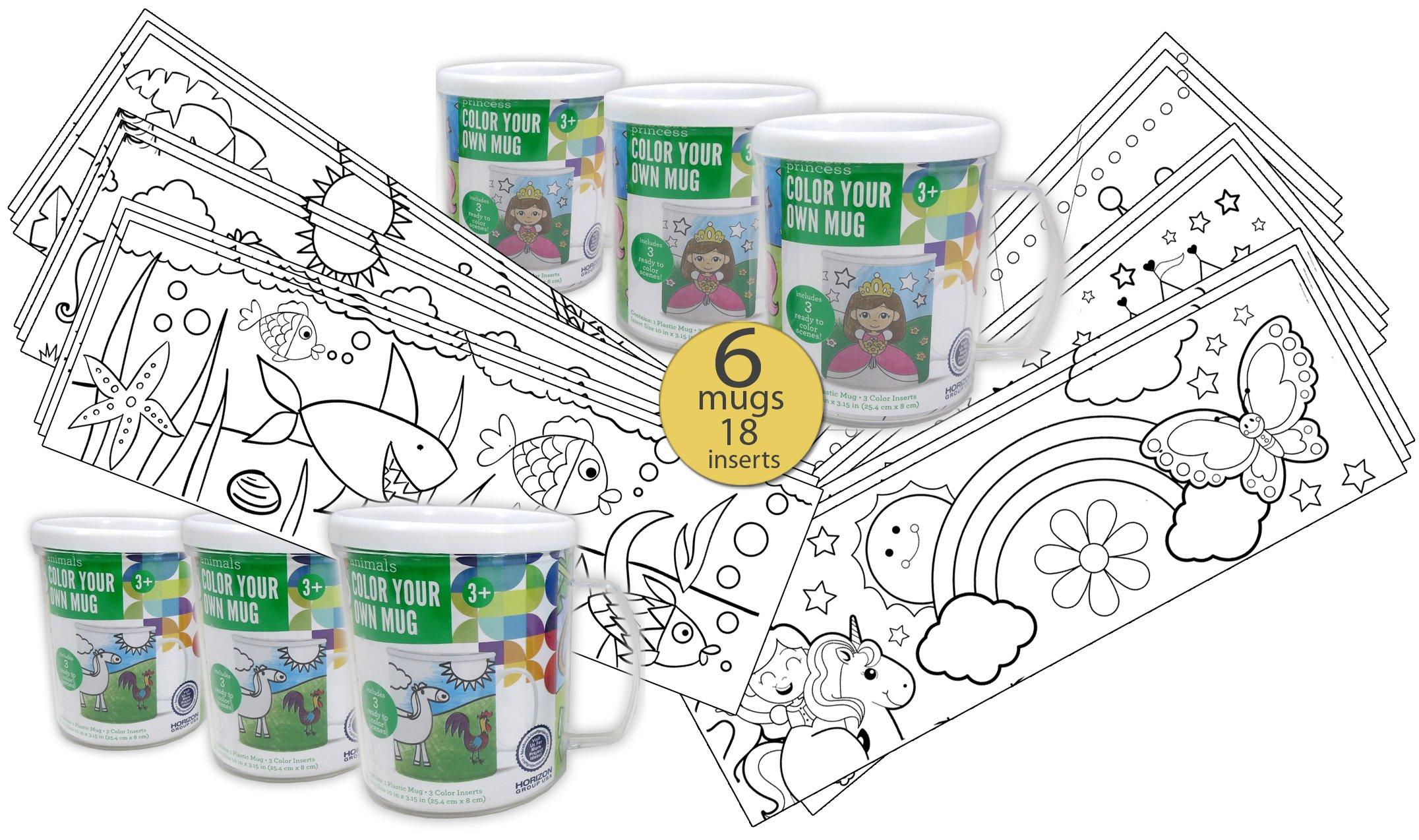 Set of 6 - Color Your Own Coloring Mug for Boys & Girls - Wholesale Bulk Set - 18 Assorted Inserts