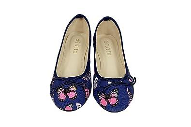 0c762bda5b8033 TATTOPANI Mesdames Motif Papillon coloré sur Ballerines Confort Chaussures  Plates