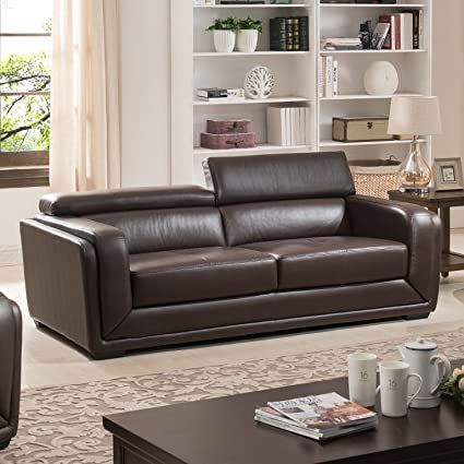 AC Pacific Calvin Collection Modern Style Leather Upholstered Living Room  Sofa, Dark Brown