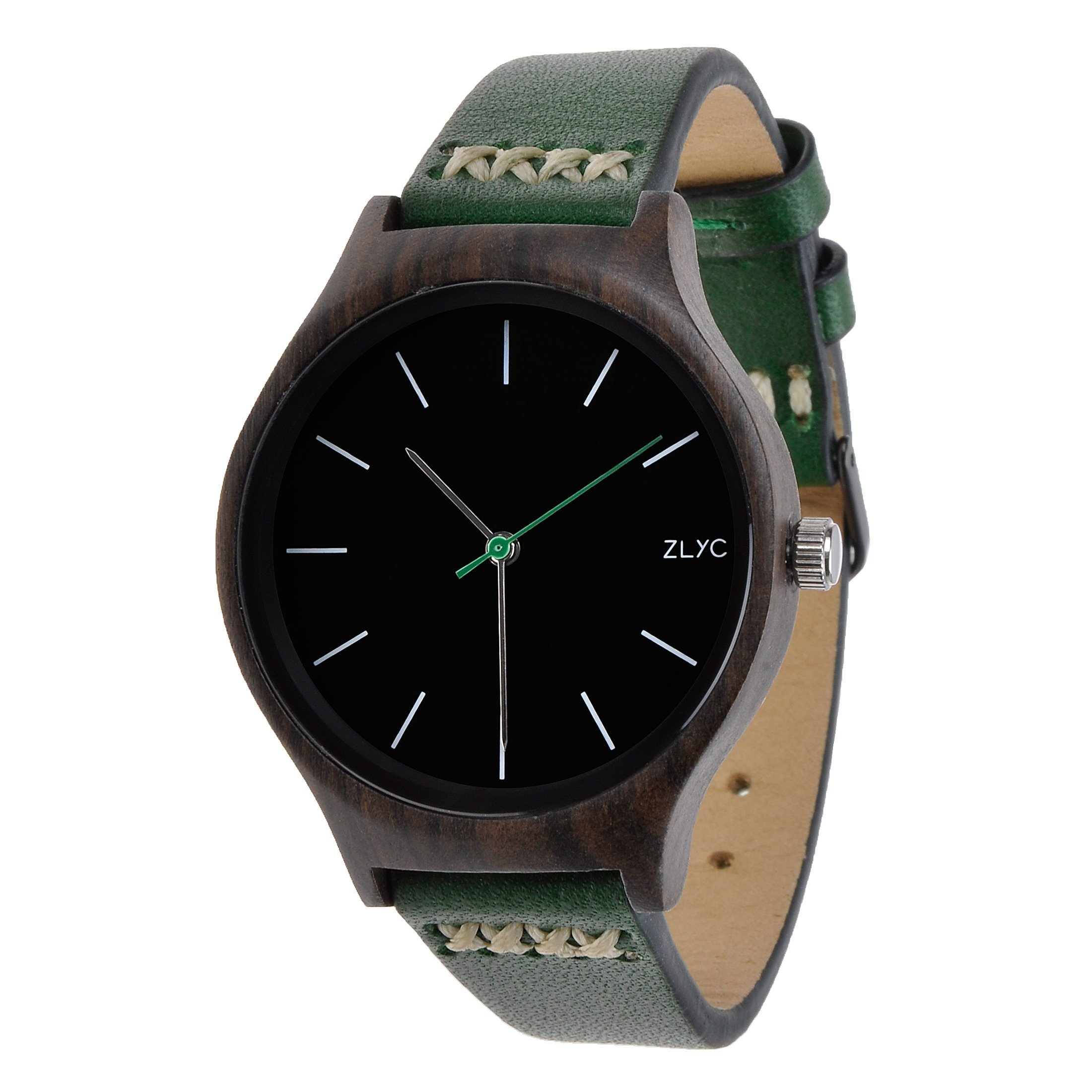 ZLYC Women Original Design Handmade Wooden classial Quartz Wrist Watch with Cowhide Strap(Green)