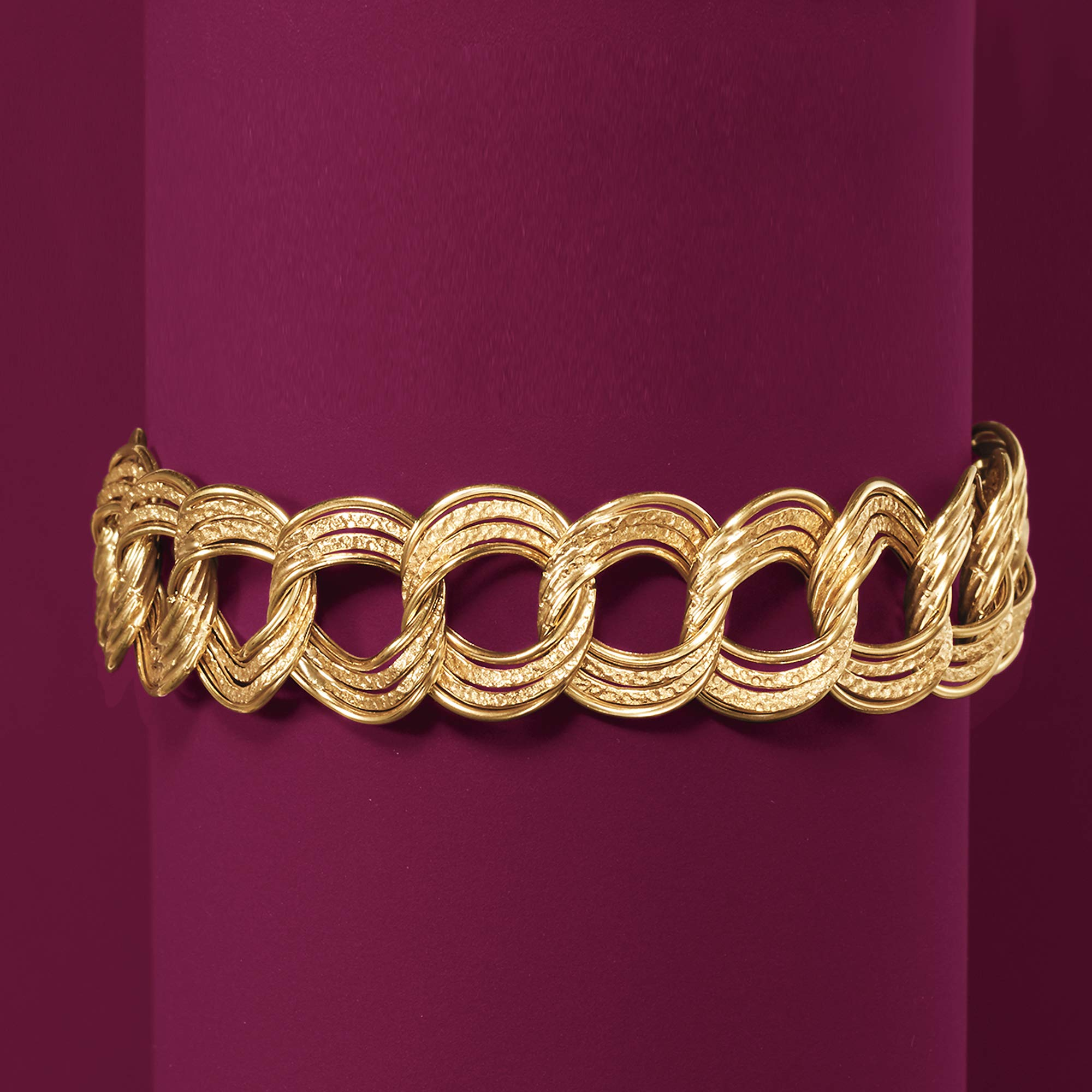 Ross-Simons Italian 14kt Yellow Gold Textured and Polished Circle-Link Bracelet by Ross-Simons (Image #3)