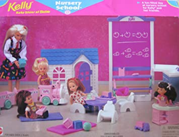 Barbie Kelly guardería escuela Playset W pizarra, fregadero, tren y más. (1996