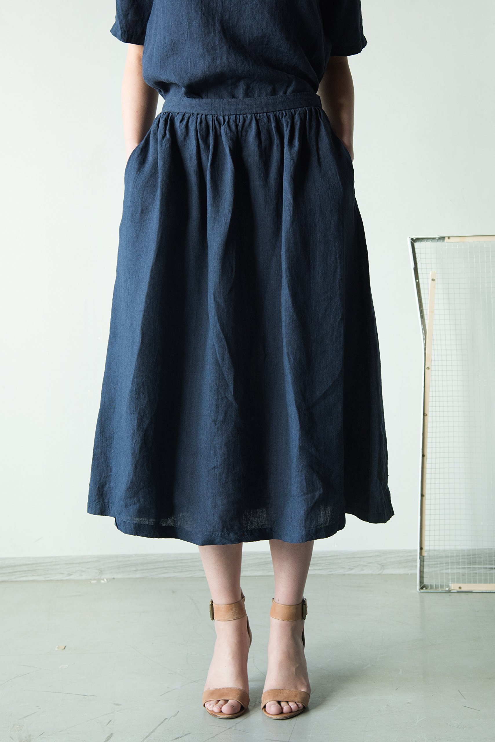 Midnight blue linen skirt, blue pleated skirt, handmade in Europe
