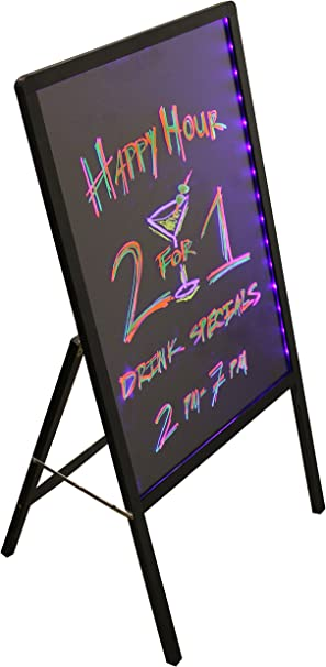 Glass Board Wood Frame Sidewalk Sign LED Menu Message Writing Sandwich Board
