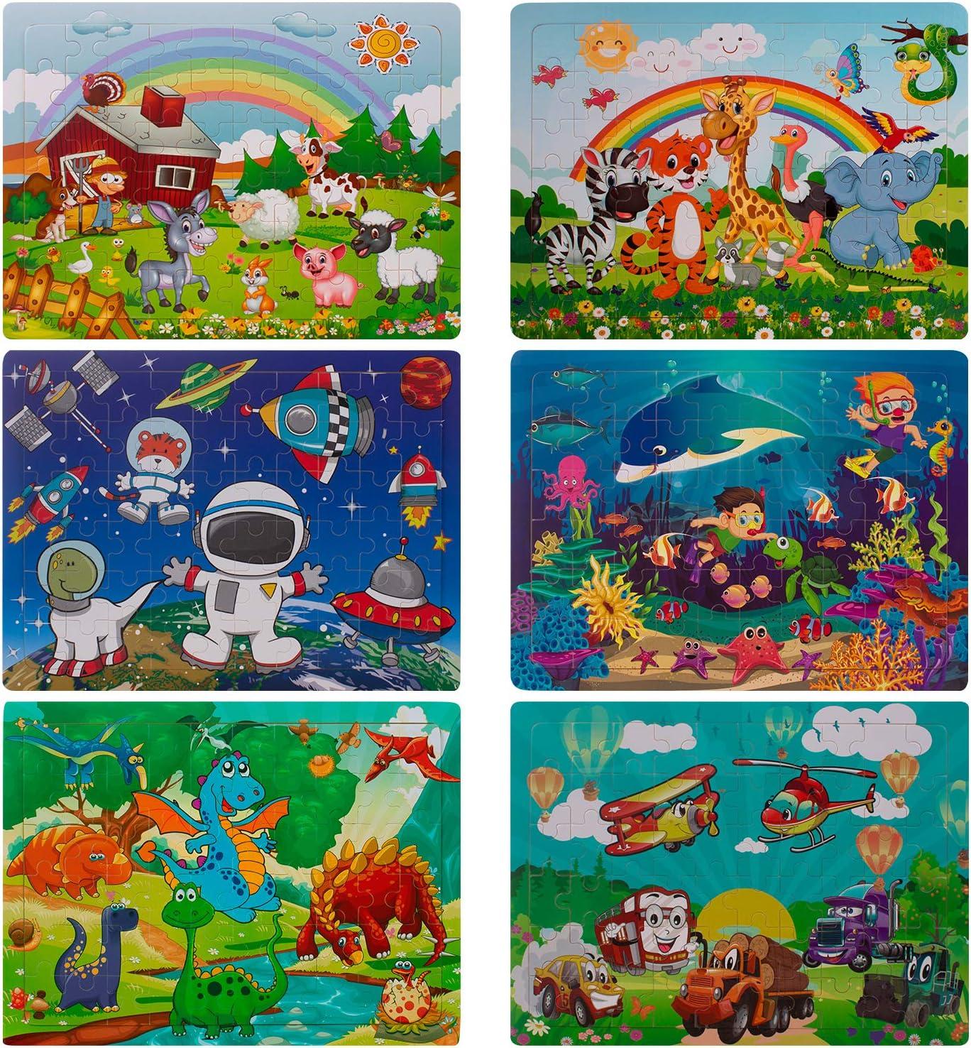 Swonuk Puzzle Madera Bebe, 60 Piezas Rompecabezas Madera niños, Include Animales, numeros, Letras, Regalo para niños(6 Paquetes, 60 Piezas)