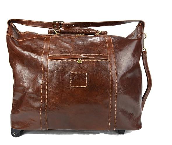 Maleta de cuero bolso de viaje marron con ruedas bolso ...