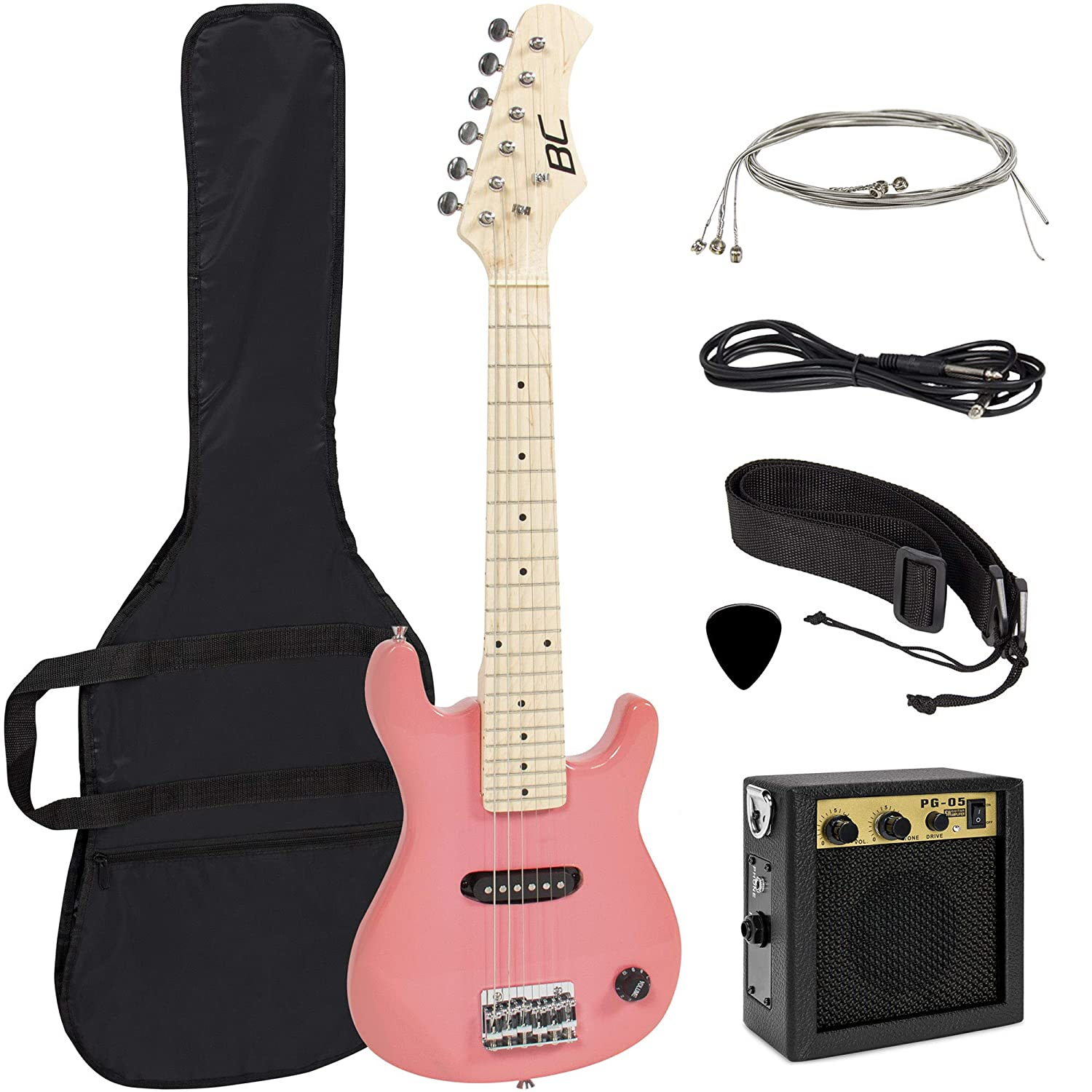 Best Choice Products 30in Kids 6-String Electric Guitar Beginner Starter Kit w// 5W Amplifier Strap Picks Strings Case Pink