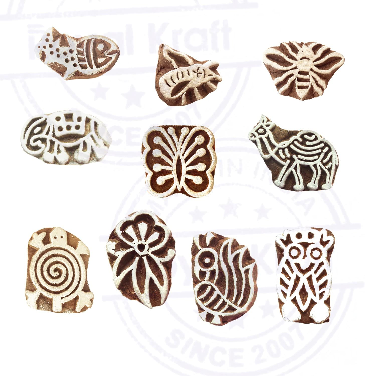 Pottery Printing Blocks Exquisite Small Bird Pattern Wooden Stamps Set of 10
