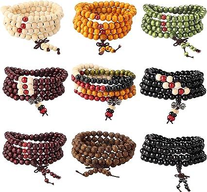 unisex bracelet 8 mm and 10 mm bead elastic bracelet orange wood bead Navy Blue wood bead bracelet pearl jewelry