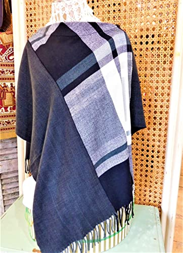 TheVermonter Infinity Scarf Black and Gray Houndstooth and Herringbone