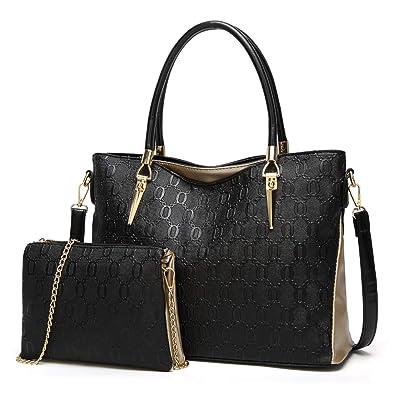 Amazon.com  Gykaeo Luxury Handbags Women Bags Designer Tote Bag Lady PU Leather  Purses and Handbags Female Messenger Shoulder Bag Sac A Main Color Black   ... c4f8d56bd2086