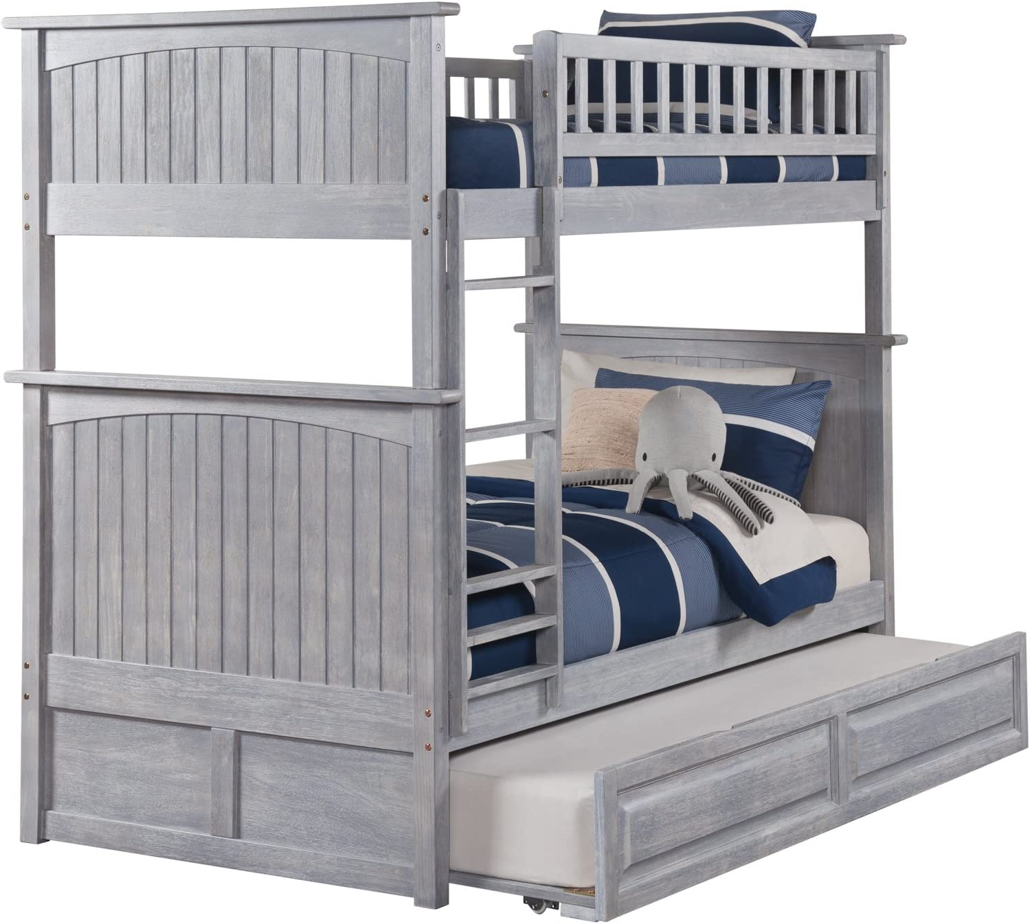 Atlantic Furniture AB59138 Nantucket Bunk Bed with Twin Size Raised Panel Trundle, Twin Twin, Driftwood