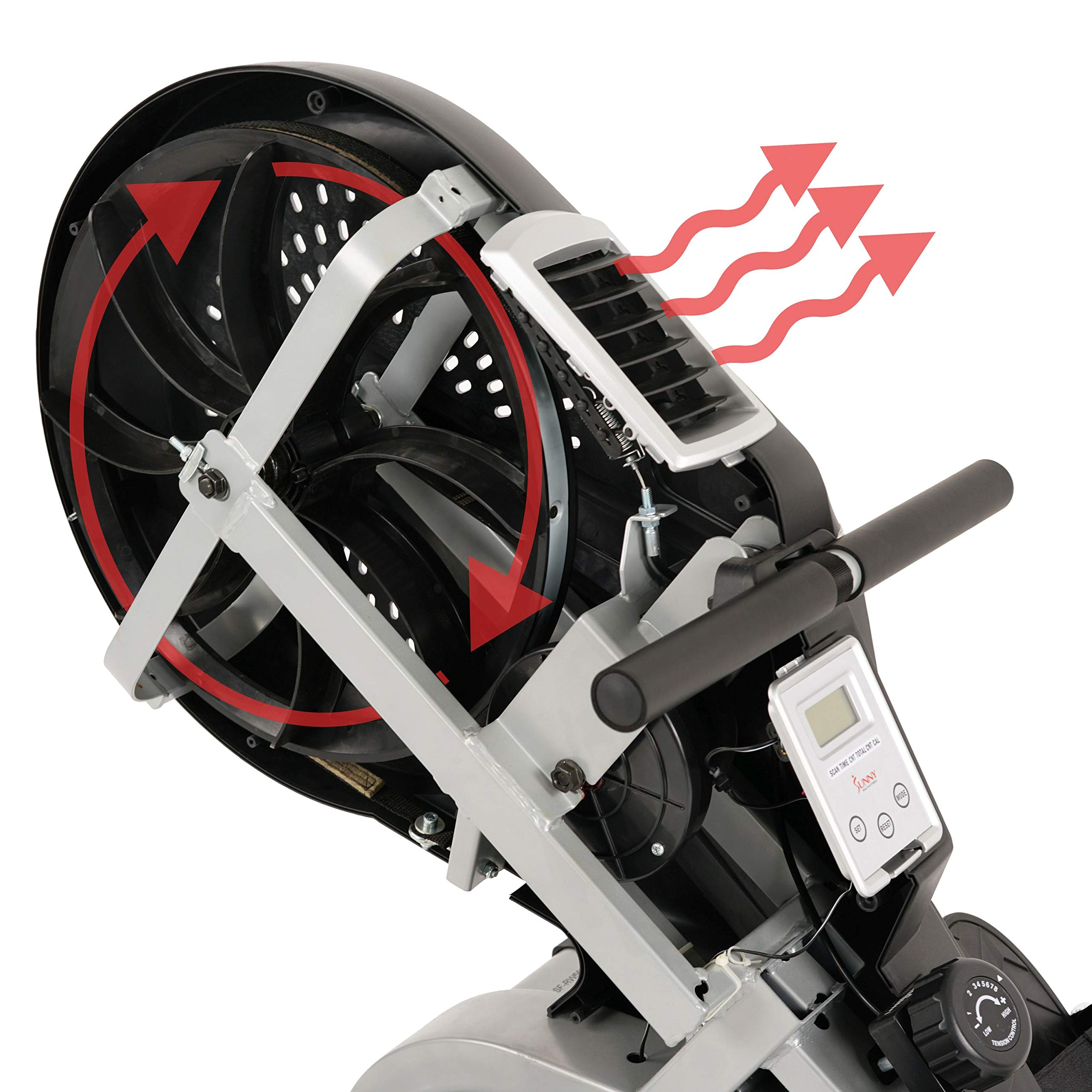 Sunny Health & Fitness Air Rower Rowing Machine w/ LCD Monitor, Dual Belt and Air Resistance SF-RW5623 by Sunny Health & Fitness (Image #19)