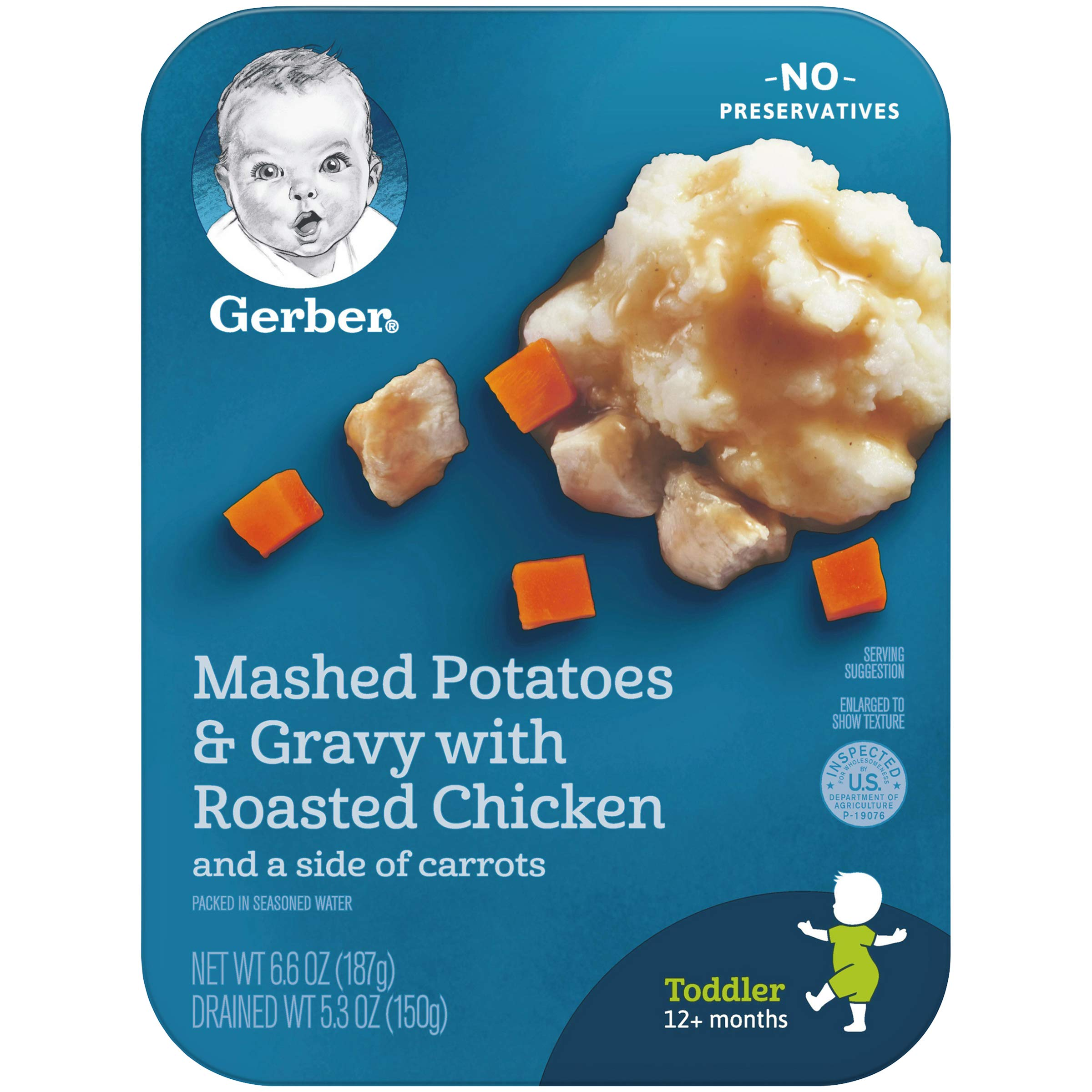 Gerber Graduates Lil' Entrees Mashed Potatoes & Gravy with Roasted Chicken & Carrots, 6.6-Ounce (Pack of 8)