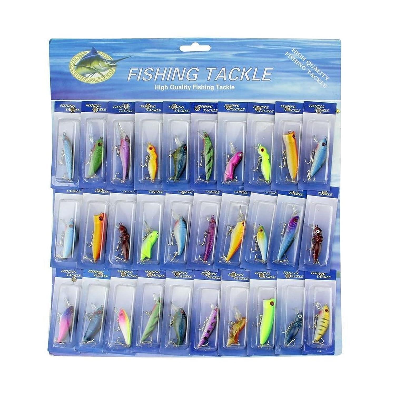 USAロット30個の種類の釣りルアーCrankbaitsフックミノー釣り餌タックル B01H08IKT2