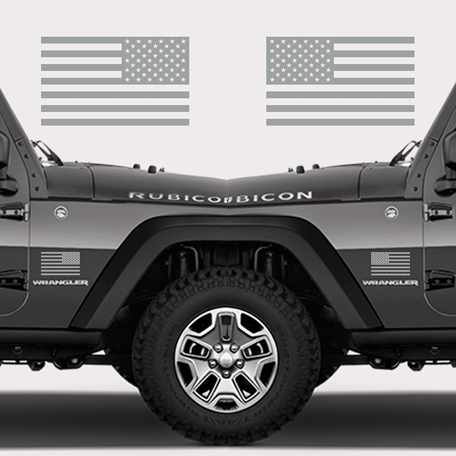 Classic Biker Gear Subdued American Flags Tactical Military Flag USA Decal 5x3 Pair Gloss Black
