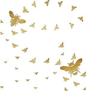 BeeWallDecals HoneyBee Wall Decor BeeWall Stickers GoldHoneyBeeDecals,HoneycombWall Decals,Nursery WallDecor Peel&Stick and Removable Decals
