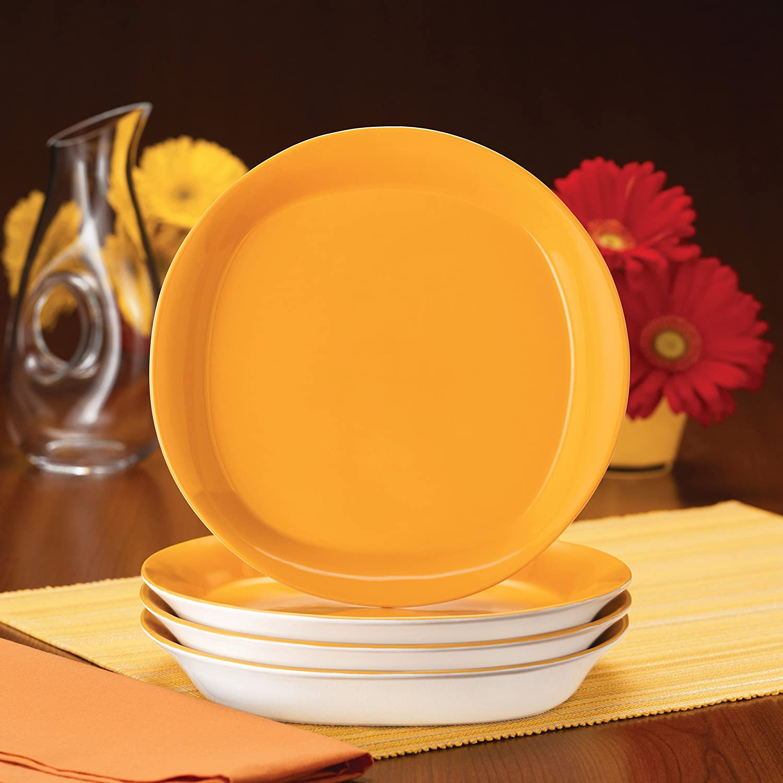 Green Rachael Ray Dinnerware Round and Square 4-Piece Stoneware Salad Plate Set
